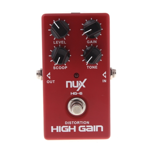 NUX HG-6 Guitar Distortion High Gain Electric Effect Pedal True Bypass Red