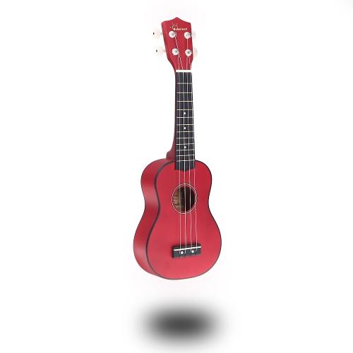 Homeland 21in Compact Ukelele Ukulele Basswood Soprano Acoustic Stringed Instrument 4 Strings Red