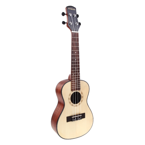 Andoer 24'' Compact Ukelele Ukulele Hawaiian Spruce Top Mahogany Back Aquila Rosewood Fretboard Bridge Concert Stringed Instrument 4 Strings with Gig Bag