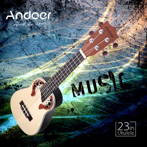 Andoer 23 ' compacto Ukelele Ukulele havaiano Spruce Rosewood Fretboard ponte Aquila concerto instrumento de cordas com built-in EQ Gig Bag correia