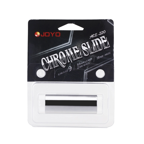 Joyo ACE-220 Guitar Slide Bass Cylinder Tone Bar Chrome-plated Stainless Steel Metallic