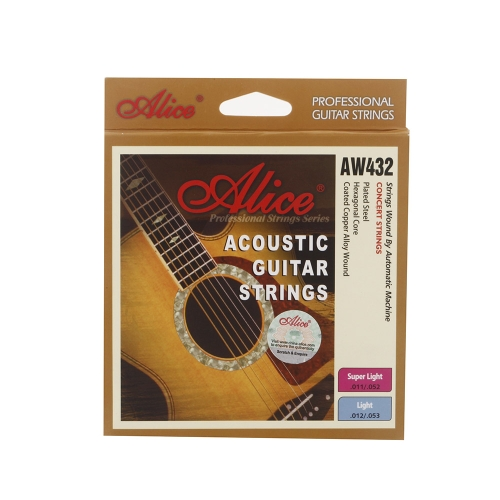 Alice AW432 Guitar Six Strings Coated Steel Set Anti-rust Light for Acoustic Guitar