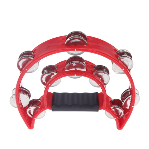 Hand Held Tambourine Bell Double Row Metal Jingles Percussion Musical Toy for KTV Party Kids Games