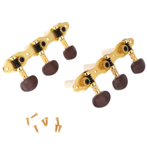 Pair of Guitar Tuning Pegs Machine Heads Tuner Simple Caving Pattern Gold Plating