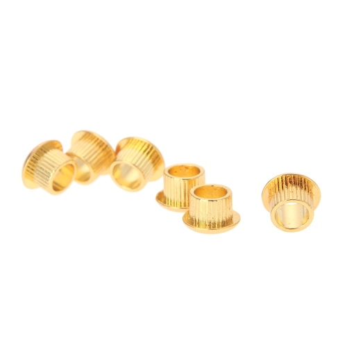 Six Guitar Tuner Conversion Bushings Adapter Ferrules Gold-plating for 10mm Peghead Holes Golden