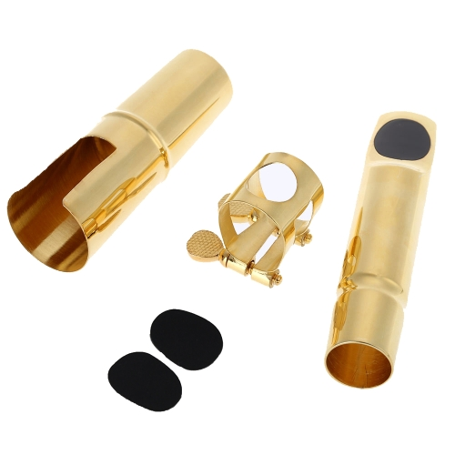 Jazz Alto Sax Saxophone 7C Mouthpiece Metal with Mouthpiece Patches Pads Cushions Cap Buckle Gold Plating