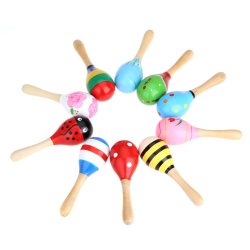 Maraca piccolo legno, cartone animato Pattern colorato percussioni giocattolo musicale strumento daidiofoni per la festa di KTV giochi bambini
