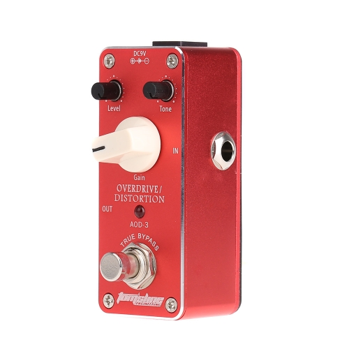Aroma AOD-3 Mini Overdrive Distortion Electric Guitar Effect Pedal with Fastener Tape Aluminum Alloy Housing True Bypass