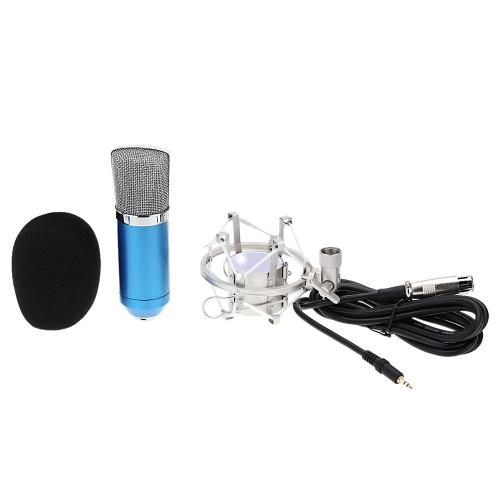 BM-700 Condenser Sound Recording Microphone with Mic Shock Mount 3.5mm Audio Cable Foam Cap for PC Laptop Radio Broadcasting Studio Voice-over Sound Studio Recording