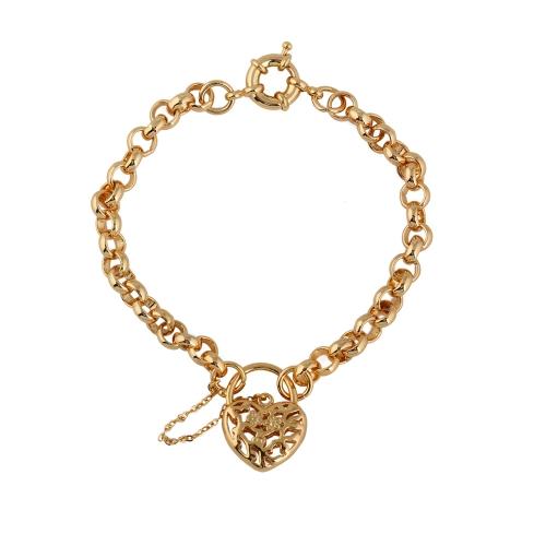 Encanto cadena 18K pulsera plateada oro amor hueco corazón Vintage bloqueo gota colgante joyas regalo de lujo para señora chica mujeres