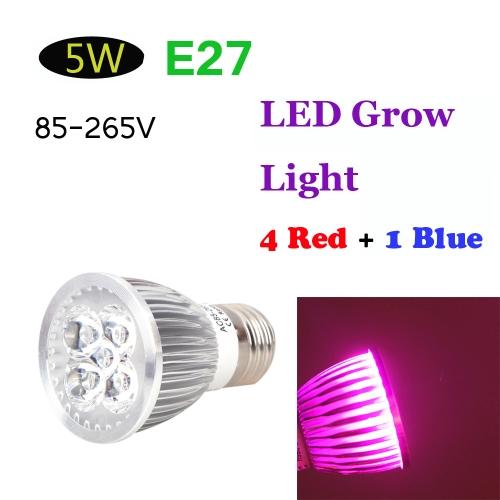 E27 5W LED planta crece la luz lámpara hidropónica bulbo ahorro de energía 4 rojo 1 azul para flor interior plantas crecimiento vegetal invernadero 85-265V