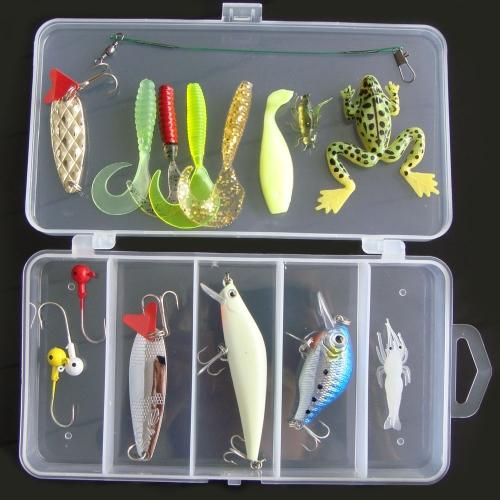 Lixada 16Pcs Искусственная рыболовную приманку Set Hard Soft Приманка Minnow Spoon Crank Креветки Jig Hook с рыболовные снасти Box
