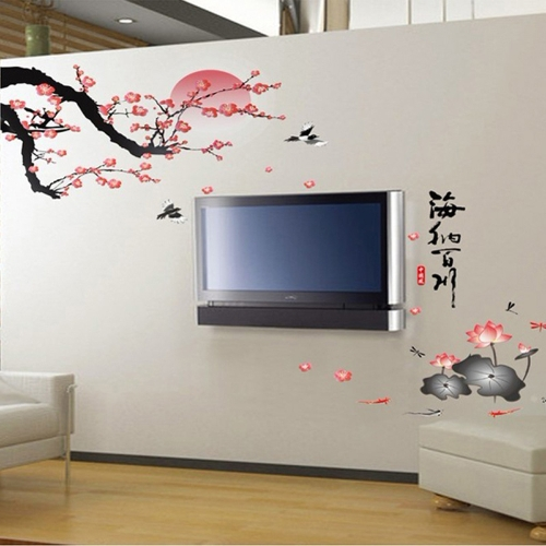 Plum Blossom Lotus Flowers Removable Wall Art Decals Vinyl Stickers Mural