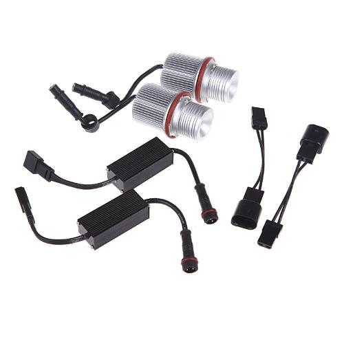 2pcs 4 LED Angel Eyes Marker Light Bulb Kit 40W White for BMW E39 E53 E64 BMW 1/5/6/7 Series X3