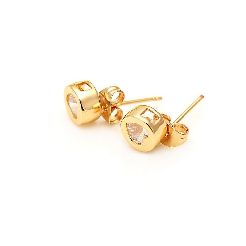 1pair amor corazón circón de cristal transparente redonda de oro de 18 K plateado oído Stud pendiente joyas regalo para mujer dama