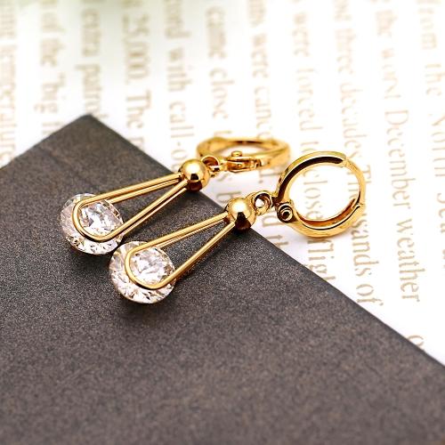 1PAAR klar Crystal Strass 18K Gold vergoldet elegante Ohrringe Tropfen Anhänger Schmuck-Geschenk für Frauen Lady