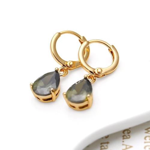 1 paio chiaro cristallo zircone oro 18 carati placcato cuore forma acqua goccia pendente penzolare orecchini gioielli regalo per donne signora