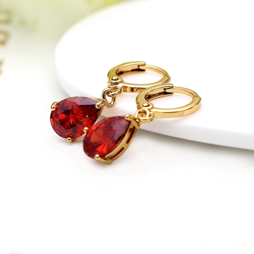 1pair claro de cristal de circón oro de 18K plateado corazón forma agua gota colgante cuelgan aretes joyas regalo para mujer dama