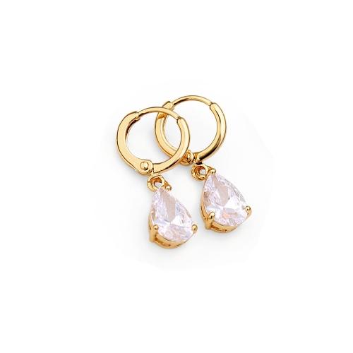 1PAAR vergoldet klar Crystal Zirkon 18K Herz Form Wasser Tropfen Anhänger baumeln Ohrringe Schmuck Geschenk für Frauen Lady