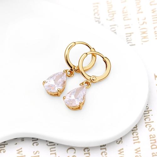1pair circón de cristal claro 18K Gold Plated corazón forma agua gota colgante cuelgan aretes joyas regalo para mujer dama