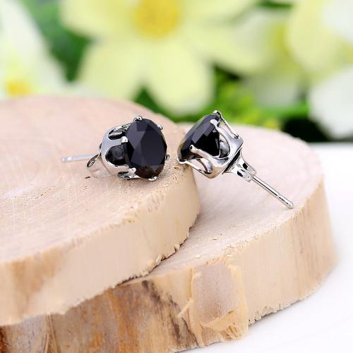 1Pair preto cristal zircão 18k Platinum banhados a coroa orelha Stud brinco jóias presente para mulheres senhora