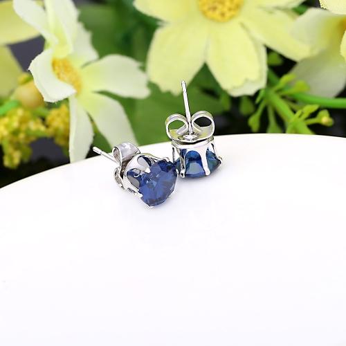 1pair Zircon azul de cristal 18K platino plateado corona oído Stud pendiente joyas regalo para mujer dama