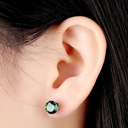 1pair circón de cristal verde 18K platino plateado corona oído Stud pendiente joyas regalo para mujer dama