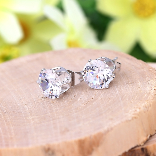 1pair circón de cristal claro 18K platino plateado corona oído Stud pendiente joyas regalo para mujer dama