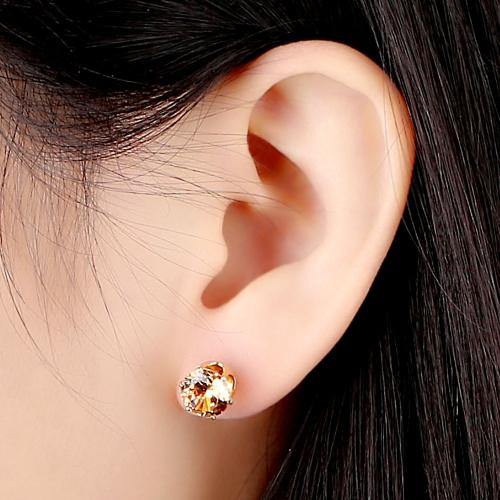 1pair circón de cristal amarillo 18K platino plateado corona oído Stud pendiente joyas regalo para mujer dama