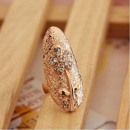 Flores folhas cristal dedo unha arte ouro anel moda jóias encantador