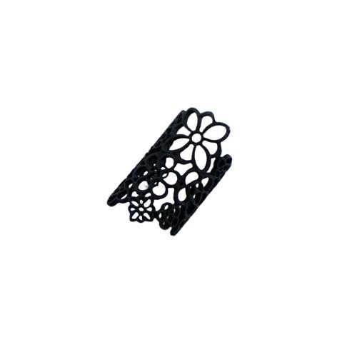 Moda de estilo bohemio diseño negro hueco de un anillo de flores