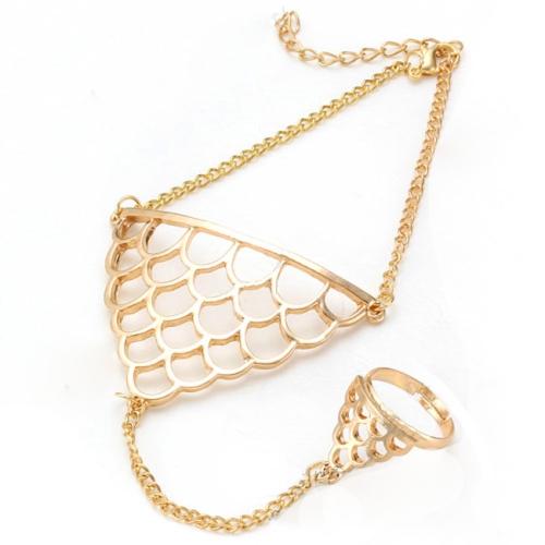 Padrão arnês bracelete braçadeira cadeia anel de escala de punk ouro liga triângulo peixe