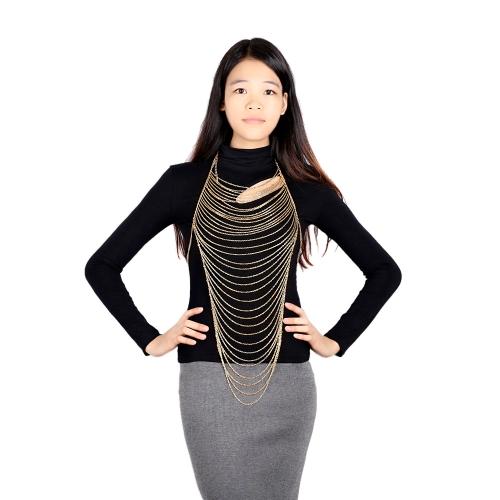 Sexy Laday Moda Wielowarstwowe Zęby Body Belly Etui Chain Link Chic Waves Long Necklace