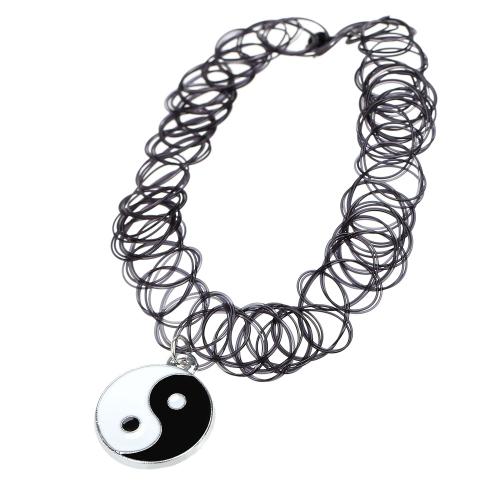 Vintage Stretch Tattoo Choker Halskette Retro elastischer Kragen Bagua Tai Chi Anhänger Schmuck chinesischen Stil Accessoires
