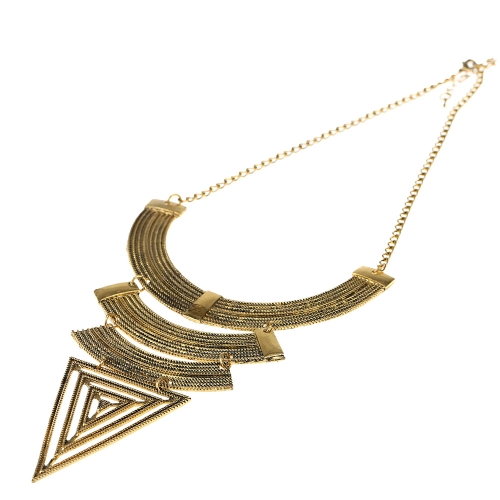 Vintage Retro Triangle Alloy Pendants Full Metal Design Punk Style Necklace Golden Arc Choker for Woman