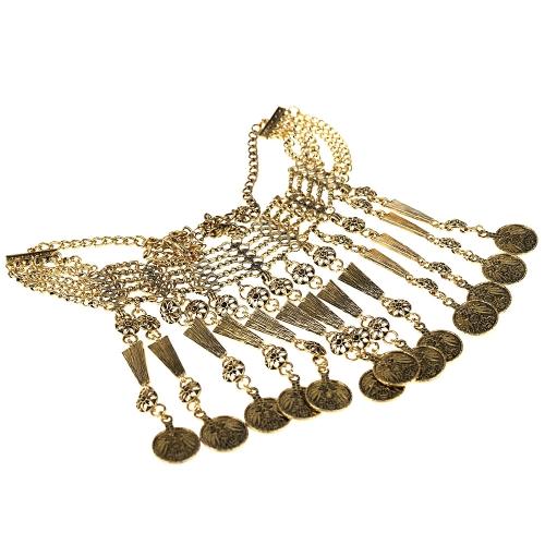 Joyas de estilo bohemio indio Turco étnico retro talla moneda colgante borlas a collar Vintage antiguos Chocker Metal grueso