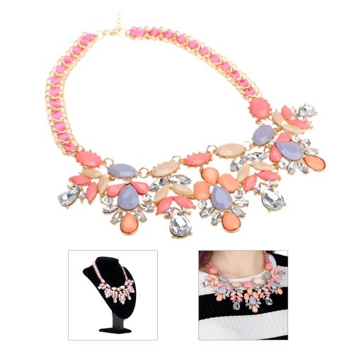 Czeski Elegancki Pierścionek Rhinestone Clavicle Chain Choker Naszyjnik Collar Biżuteria Akcesoria dla Kobiet Dziewcząt