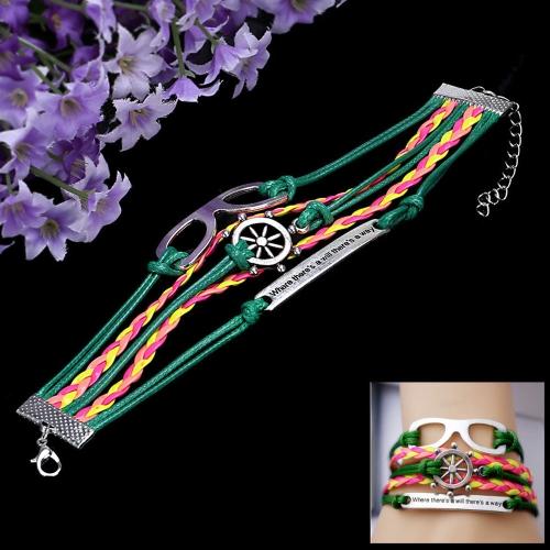 Moda Vintage joyas accesorio multicapa trenzado colgantes pulsera brazalete