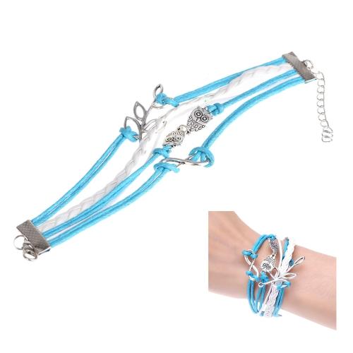 Moda jóias acessório multicamada trançado Olive Branch coruja pingentes bracelete pulseira