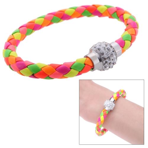 Moda jóias couro acessório magnético fivela strass bracelete de cristal pulseira pulseira