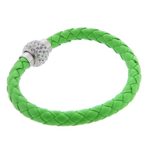 Moda joyas accesorios cuero hebilla magnética Rhinestone cristal pulsera brazalete pulsera