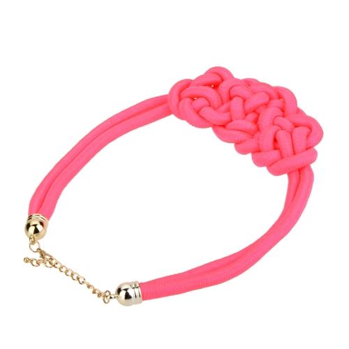Declaración grueso hecho a mano de punto joyería de cuerda gargantilla Collar collar mujeres caramelo corto Color fluorescente