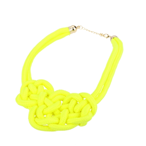 Chunky Statement Handmade Knitted Rope Choker Collar Necklace Women Short Candy Fluorescent Color Jewelry