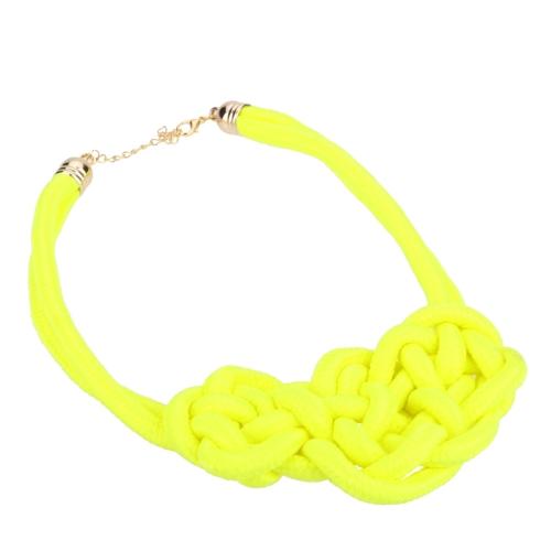 Klobige Anweisung handgefertigt gestrickte Seil Choker Kragen Kette Frauen kurze Candy fluoreszierende Farbe Schmuck