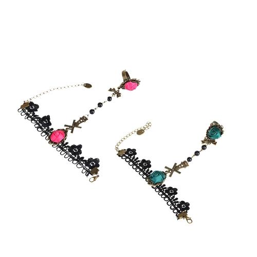 Retrô Vintage gótica verde rosa flor Bowknot moinho oco do laço pulseira com anel festa nupcial da dama de honra de casamento jóias acessórios para meninas mulheres