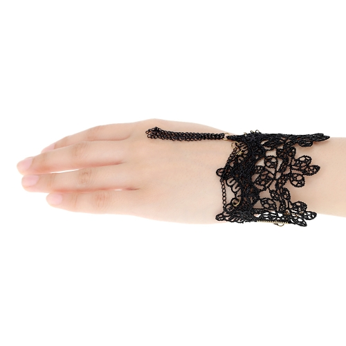 Retro Vintage Gothic Lolita Style Metal Tassel Chain Pendant Black Lace Bracelet Wristband Bangle Party Wedding Party Jewelry Accessories for Women Girls