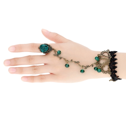 Retro Vintage Gothic Lolita Green Crystal Rhinestone Rose Flower Vine Leaf Lace Bracelet Jewelry Metal Chain Bangle with Ring For Women Girls
