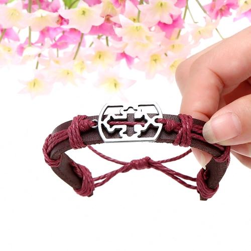 Alloy Leather Bracelet Men Women Fashion Bangle