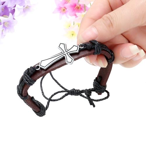 Mulheres de homens de pulseira de couro liga moda pulseira