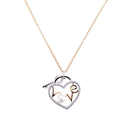 Moda carta amor corazón clave grano de la perla colgante circón collar cadena 18K chapado en oro cobre para las mujeres dama niña regalo Jewllery